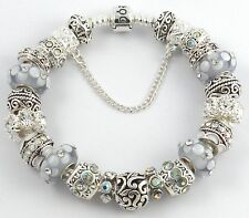 NEW Authentic PANDORA Barrel Bracelet with VIOLET European Charms & Murano Beads