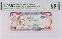 Jamaica 50 Dollars 2013 P 94 a Superb Gem UNC PMG 68 EPQ Top Pop