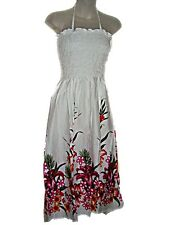 Hawaiian Tropical White Floral Long Sun Dress Tube Top One Size (S-XL) tc089 NEW