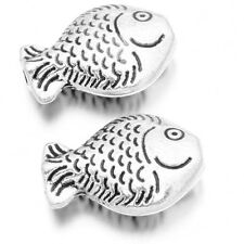 100x Antique Silver Tone Retro Alloy Animal Fish Shape Carved Spacer Beads DIY J