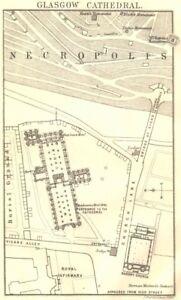 SCOTLAND. Glasgow cathedral plan. High Kirk St Kentigern's St Mungo's 1887 map