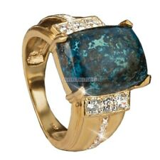 Natural Azurite Gemstone with Gold Plated 925 Sterling Silver Ring for Men's