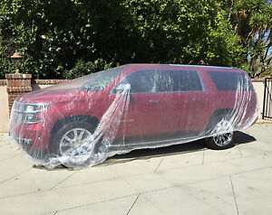 Clear Plastic Disposable Quick Car Cover for Temporary Rain, Paint Dust 24' Size