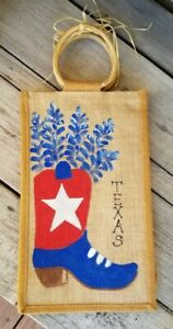 Hand Painted Burlap Wine Bottle Gift Bag Bamboo Handle Lots of Space