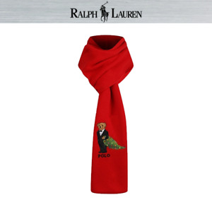 Polo Ralph Lauren Christmas Tree Bear Scarf Muffler Red PC0284-610