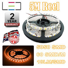 5M 24v AMBER LED STRIP LIGHT 5050 300SMD 18LM/SMD 60SMD/m BRIGHT IP65 WATERPROOF