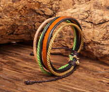 M02 Multi Band Surfer Cotton Hemp Leather Mens Unisex Wrap Bracelet Wristband