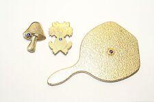 Vintage Lions Club Lot - Hand Mirror, Lion & Mushroom Goldtone Blue Emblem
