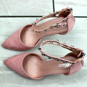 Womens Pink High Heel Pointed Toe Ankle Strap Sandals Court Shoes UK Size 3-8