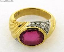 Vintage Designer Pink Tourmaline Platinum Diamond 18k Yellow Gold Ring