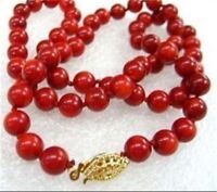 "8mm Red Sea Coral Round Beads Necklace 18"" JN113"