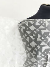 Ice White Geometric Abstract Shapes Non Stretch Devore Dressmaking Fabric