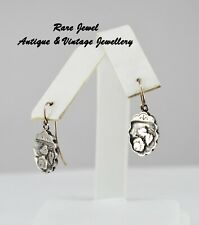 ANTIQUE VICTORIAN STERLING SILVER DROP EARRINGS LOVELY FLORAL DECORATION