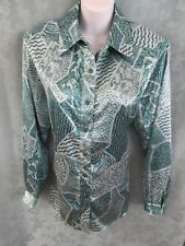 Vintage 90's Da Rue of California Women's Multi Print Satin Shirt Size XL