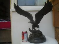 Impressive very large solid bronze eagle sculpture with black stone base  LOOK