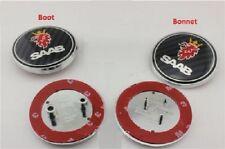 2x saab badge fibre de carbone 9-3,9-5 ensemble de démarrage arrière & bonnet front logo emblème 68mm
