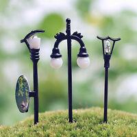5Pcs Garden Plant Pot Ornament Fairy Dollhouse Decor Miniature Streetlight Lamp