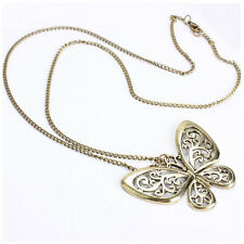 Girls Fashion Retro Carved Butterfly Pendant Long Chain Sweater Necklace Hot