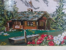 Beautiful Framed Tapestry Wall Hanging Picture Log Cabin Mountain Flowers Scene
