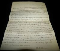Vintage Letter, EATON, OHIO, OH, R.W. QUINN ATTORNEY AT LAW, Legal Document,1892