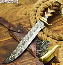 LOUIS MARTIN RARE CUSTOM HANDMADE DAMASCUS ART HUNTING BOWIE KNIFE OLIVE WOOD
