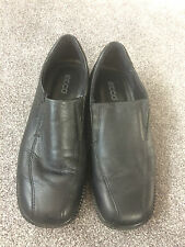 ECCO Mens Boys Real Leather Black Flat Shoes Booties Size 6 UK 39 EU