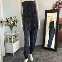 Strapless Black and Silver pant jump suit Approx size 16 Womens