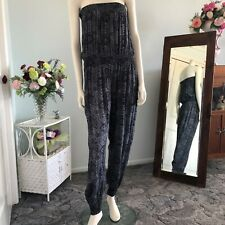 Strapless Blue and Gold pant jump suit Approx size 14 Womens