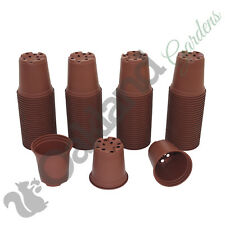 "100 X 9cm Plant Pots Terracotta Plastic Tall Deep Full Size Flower Pot (3.5"")"