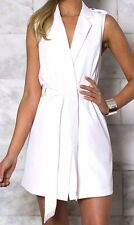 Runaway Gorgeous Womens Ladies White Vest Belted Jacket Shirt Tunic Top