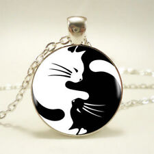 Yin Yang Cat Kitten Animal Cabochon Pendant Silver Chain Women Jewelry Necklace