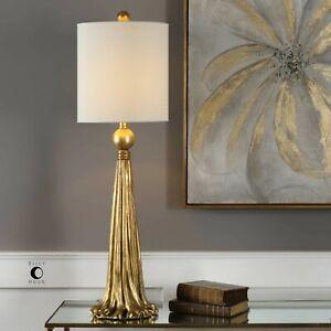 "PARAVANI XXL 37"" ANTIQUED METALLIC GOLD TABLE BUFFET LAMP UTTERMOST"