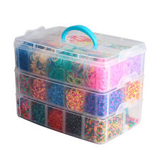 15000 x Rainbow Colourful Rubber Loom Bands Bracelet DIY Making Kit Kid Craft