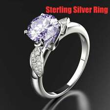 Ring; Sterling Silver Lab-created Purple Amethyst Crystal Accents Size 9 NEW