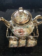 13pc Chinese Tea Sets - Tea Pot & 6 Cups & Saucers with Rack. Multi color .