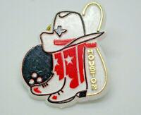 Houston Bowling Pin Ball Cowboy Boots Hat Texas Retro Vintage Lapel Pin