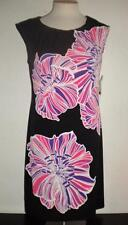 LONDON TIMES MS SIZE 10 BLACK MULTI-COLOR FLORAL PRINT SLEEVELESS FASHION DRESS