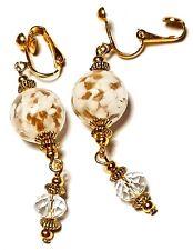 Long Gold White Clip-On Earrings Drop Dangle Glass Bead Classy Crystal Artisan