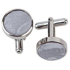 DQT Brass Fabric Inlay Cuff Links Floral Paisley Silver Mens Cufflinks