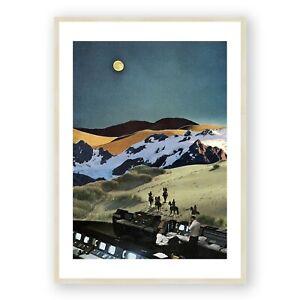 Westworld Print , Collage Prints , Vintage Wall Art , Moon Art Print , Framed
