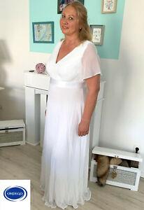 CURVY Weiß Brautkleid Hochzeitskleid Standesamt kurzarm 42 44 46 48 50 52 54