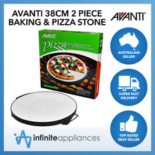 Avanti 38cm 2 Piece Baking Pizza Stone Set for BBQ & Oven Bread Cookies Pies