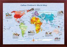 Framed Children's World Map Educational Wall Decor in Premium Wood Frame
