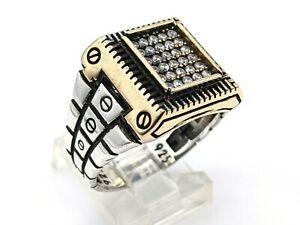 Men's 925 Sterling Silver White Zircon Ring Size 11.25 US Watch Design