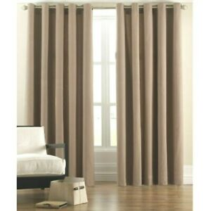 BEIGE CAMEL 100% COTTON CANVAS RING TOP CURTAINS FREE POST