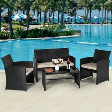 4-Piece Wicker Outdoor Furniture Sets Black Rattan Patio Conversation Furniture