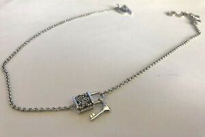 Lois Hill Sterling Silver Chain Necklace Link w/ a Charm of Filigree lock & Key