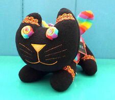 NEW Zoomeez Rainbow Psychedelic Black Cat Pluch Stuffed Animal 11 inches Rare!