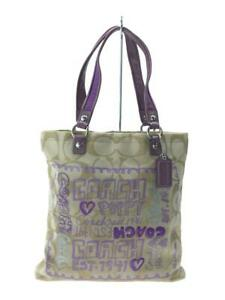COACH  Pup Canvas Purple Fashion Tote bag 6981 From Japan