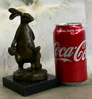 Detailed Genuine Bronze Standing Bunny Rabbit Statue Figurine Marble Sculpture